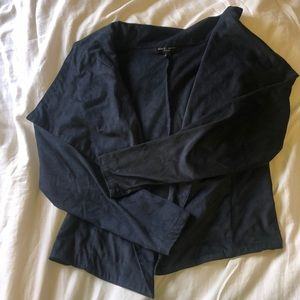Faux Suede Navy Stretchy Blazer
